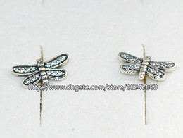 pandora new earrings Canada - New 100% S925 Sterling Silver European Pandora Style Jewelry Sparkling Petite Dragonfly with Clear CZ Stud Earrings