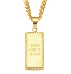 $enCountryForm.capitalKeyWord NZ - 14K Gold Plated Hip Hop Chain Rectangular Army Card Necklace Pendant