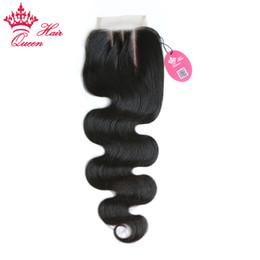 """virgin hair dhl 2019 - Queen Hair Brazilian Virgin Human slight Bleached Knots Hair Lace Closure 3.5""""x4"""" Body Wave 3 Part DHL Free Sh"""
