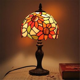 retro sunflower table lamp vintage classical living room study bedroom bedside lamp creative wedding glass alloy table lamps