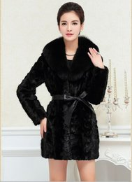 Manteau À Col Bon Marché Pas Cher-Casaco De Pele Falso 2015 Femmes Slim Winter Fourrure Faux Fur Taille Plus Taille Fox Fur Collar Medium-long Black Mink Fur Outwear X809