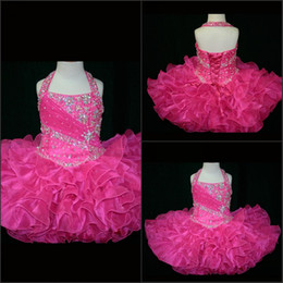 Barato Pouco Rosie Vestidos Glitz-2015 Custom Made- Halter Top Little Rosie Cupcake Girl's Pageant Vestidos Lovely Little Rosie Hot Pink Glitz Party Girl's Pageant Vestidos