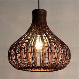 Southeast Asia Rattan garlic Dining Room Ceiling Pendant Lights Handmade  Study Room Restaurant Parlor onion Pendant Chandelier Fixtures cheap handmade  light ...