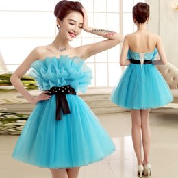 $enCountryForm.capitalKeyWord Canada - Sky Blue Fashion Ball Gown Strapless Ruffled Short Tulle Bridesmaid Dress with Black Bow 2015 Gowns