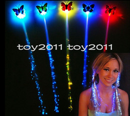 $enCountryForm.capitalKeyWord Australia - Fashion New 2016 200pcs lot Light Up Toys Girls Colorful Butterflies Led Novelty Glow Fiber Braid Night Headdress rave halloween decorations