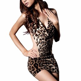 Barato Vestidos De Noite Sexy Lingerie-Mulheres Sexy Sexy Lingerie Leopard Erotic Lingerie Dress Alloy Chain Evening Trajes Sexy Backless Pole Dance Uniform Costume