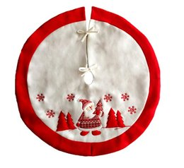 Discount embroidered soft toys Santa Claus Embroidered Christmas Tree Skirt Home Decoration New Year Xmas Tree Cover Christmas Decoraions for Home
