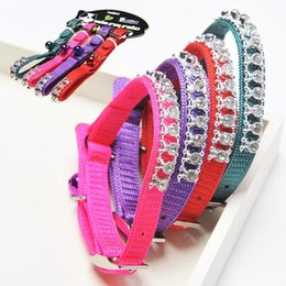 $enCountryForm.capitalKeyWord NZ - High Quality Nylon Materia Little Dog Cat Diamond Collar Charming With Bell Pet Supplier Pink Red Green&Orange Color Small Size 12PCS LOT