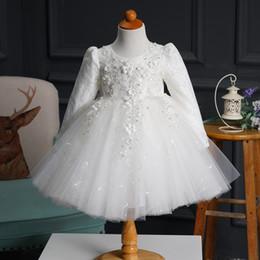 Knee Height Dresses Canada - Beaded Long Sleevess Ball gown flower girls dress Party dresses boat necklinge zipper back for height 90cm-160cm