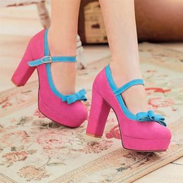 $enCountryForm.capitalKeyWord Canada - 2013 Korea sweet bow rough heels princess shoes lovely color waterproof shoes
