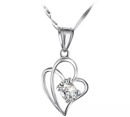 $enCountryForm.capitalKeyWord Canada - New High-grade Austria Crystal Love To Love Diamond 30% 925 sterling silver Pendant Necklace For Wedding Dress Sets Free Shipping