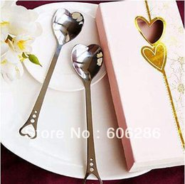$enCountryForm.capitalKeyWord Canada - Hot sell free shipping to USA 100sets lot Loving Hearts Stainless Spoon Set Wedding Favors