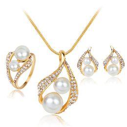 $enCountryForm.capitalKeyWord Australia - Women Party Jewelry Set Pearl Crystal Pendant necklace Wedding Ring Earrings Set Gold Plated Bride Bridesmaid Wedding Jewelry