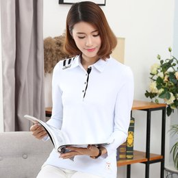 Barato Manga Longa Gola Polo Mulheres-Wholesale-Women Polo Shirts Manga comprida M-4XL Plus Size 4 Botões Turndown Collar 4 Colors Drop Shipping