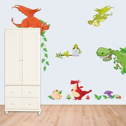 Bande Dessinée Drôle De Girafe Pas Cher-Jungle sauvages Eléphant Lion Singe Giraffe Cartoon Stickers Muraux chambre Enfants Funny animal enfants autocollants en vinyle
