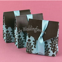 damask party supplies Australia - FREE SHIPPING 100PCS Damask Blue Candy Boxes Birthday Party Candy Holder Event Sweet Package Wedding Shower w  RIBBONS