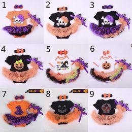 dresses design baby summer 2019 - 10 Design baby halloween Christmas Xmas rompers 3pcs suit 2015 new Skull head pumpkin girl Short sleeve rompers Hair ban