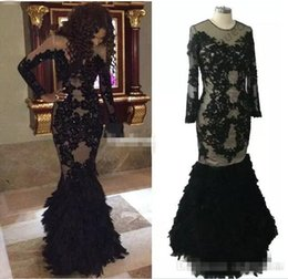 Chinese  Luxury Black Feather Prom Dresses With Long Sleeves Sheer Champange Arabic Evening Gowns Real Tulle Mermaid Formal Dresses Gowns Plus Size manufacturers