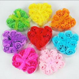 Gift Shaped Soap Canada - High Quality Mix Colors Heart-Shaped Rose Soap Flower For Romantic Bath Soap And Gift (9pcs=one box) hand made 100% natural material