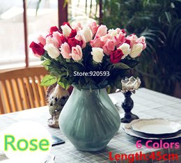 White Pink Mix Rose Flower Canada - Free Shipping 8 Colors Silk Rose Artificial Flower Real Touch For Home Wedding Birthday Decorition DIY Mix