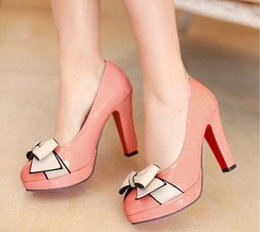 Discount high country bows - Spring and autumn new style high-heeled shoes heel fashion, shallow single bow tie women's shoes waterproof big cou