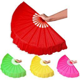 $enCountryForm.capitalKeyWord NZ - 41cm Solid Black Red Folding Hand Fans Craft Dance Performce Wedding Party Souvenir Decoration Supplies