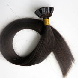 brown hair bonding Canada - Pre bonded human hair extensions Flat tip hair 50g 50Strands 18 20 22 24inch #2 Darkest Brown Brazilian Indian hair products