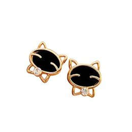 China Smiling cat Earrings fashion cute diamond stud earring charm jewelry wedding ornament free shipping cheap smiling jewelry suppliers