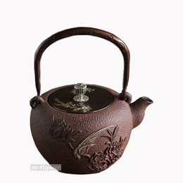 potted peony NZ - Phoenix & Peony Japan Cast Iron Teapot Double Copper Handwork Kung Fu Tea Pot Kettle Drinkware 1.3L Cooking Tools Arts Crafts Gifts