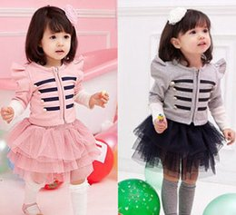 long puffed sleeve dress NZ - long sleeve coat jacket tutu dress girl baby girl tutu skirt long sleeve girls outfits kid baby girl long sleeve jacket coat tutu skirt 2pcs