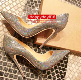 Опт Бесплатная доставка мода Женская обувь блеск блестками точка toe тонкие каблуки Высокие каблуки насосы шпильках обувь для женщин 120 мм