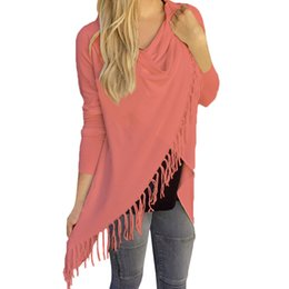 96ef7b1227571 Discount shirt cardigan S5Q Women s Sexy Casual Long Sleeve Tassel Shirt  Loose Casual Tops Cardigan Coat