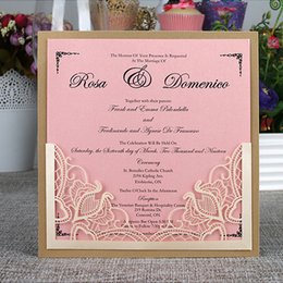 Wholesale Elegante Laser Cut Invitation Cards for Wedding Birthday Business Party Personalized Printing Flora Invitations Envelopes