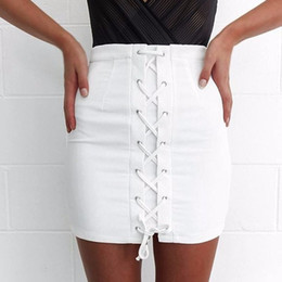 Barato Saia Branca De Cintura Alta E Curta-Womens Pencil Skirts Bandagem High Waisted Bodycon Ladies White Belt Wrap Short Mini saia Mulheres solteiras verão Reino Unido