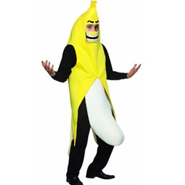 Trajes Adultos De Halloween Baratos-Adulto Unisex Disfraz de Banana Gracioso Cosplay Carnival Sexy Fruit Parte Fancy Dress Amarillo