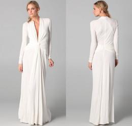 Venta caliente Una línea de cuello en V piso longitud gasa blanco vestidos de noche de manga larga vestido de fiesta elegante noche envío gratis en venta