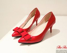 chunky high heels dress shoes 2019 - 2016 new style 4 colors choose Coat of paint The tip head shoe bowknot spike Women's shoes OL style High heels 35-3