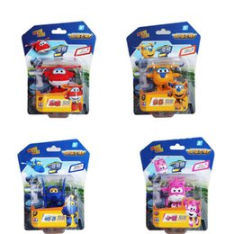 planes wing Australia - Cartoon 4pcs lot Super Wings toys Mini Planes Model Transformation Airplane Robot Action Figures doll model kids baby toy Gift