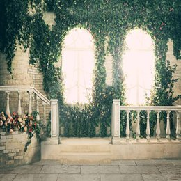 vinyl photography backdrop window 2018 - Green Vines Flowers Decorated Windows Photo Studio Background for Wedding Stairs Stone Fence White Red Roses Photography