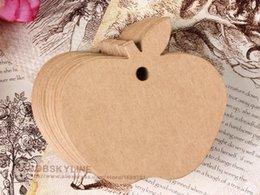 300 unids / lote-Apple en forma de tarjetas de papel Kraft en blanco DIY decoración del partido etiqueta precio etiqueta