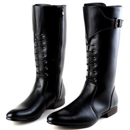 China Italian Design New Tide Long Boots For Men Pointed Toe Lace Up With Buckle Motorcycle Boot Man Dressing Up PU leather Martin Boot 38-44 supplier boots men long suppliers
