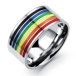 supports ring NZ - Fashion rings Support gay rainbow homosexuality Pull the Rainbow Titanium half color ring man rings width 10mm rings