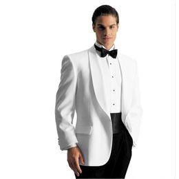 Ivory Mens Pants Canada - custom ivory mens wedding suits for men white tuxedos notched Shawl collar mens suits slim fit grooms wedding suits (Jacket+Pants)