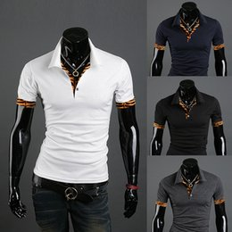 Barato Pontos Leopardo Camisas-2016 New Arrival Brand Vestuário T-shirt masculino Tiger Leopard Stitching Personality Lapel T-shirt Casual Tshirt Homme 700-T12