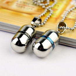 Discount mens lockets pendants - Wholesale Openable Perfume Bottles Pendants Necklace 316L Stainless Steel Cylinder Pill Case Cremation Memorial Jewelry