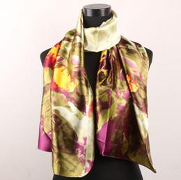 $enCountryForm.capitalKeyWord Canada - 1pcs Green Leaves Plum Gold Flowers Women's Fashion Satin Oil Painting Long Wrap Shawl Beach Silk Scarf 160X50cm