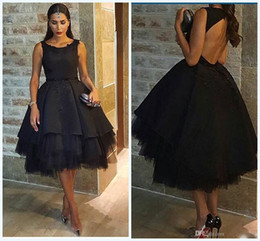 Petticoat sexy online shopping - Classic Arabic Black Prom Dresses Beaded Satin Tulle Petticoat Prom Ball Gowns Knee Length Hollow Back Sexy Party Dresses Evening Wear