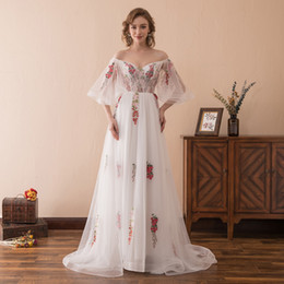 $enCountryForm.capitalKeyWord NZ - In Stock White Tulle With Embroidery Sweetheart Neck Backless Lace Up Trumpet Sleeves Court Train Prom Party Dress robe de bal