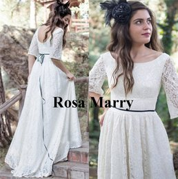 hippie style wedding dresses UK - Full Lace Country Beach Boho Wedding Dresses 2019 A Line 1 2 Long Sleeves Plus Size Greek Style Hippie Cheap Bridal Gowns