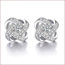 5076f25dc244 Artículos de plata de ley 925 aretes de joyería de cristal cruz en forma de  boda infinito exquisito vintage encantos finos